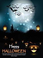 Feliz fondo de terror de halloween con escena nocturna y calabaza brillante vector