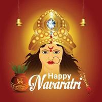 Realistic happy navratri indian festival celebration greeting card with goddess durga face illustration vector