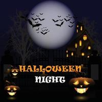 Halloween  party background with glowing pumpkin and horror house vector