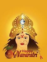 Happy navratri celebration greeting card with creative illustration of goddess durga nad kalash vector