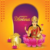 Vector illustration of Goddess laxami for happy dhanteras celebration