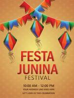 Festa junina brazil festival celebration with colorful lantern and paper flag vector