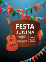 Festa junina poster with colorful flag and guitar and paper lantern vector