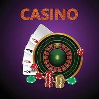Ilustración de vector de juego de casino con naipes y fichas creativas
