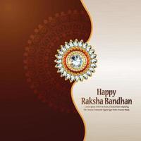 feliz tarjeta de felicitación raksha bandhan con crystal rakhi y regalos vector
