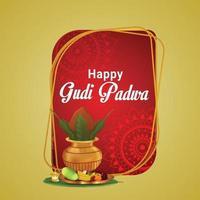 tarjeta de felicitación de celebración del festival indio gudi padwa vector