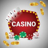 Vector illustration of casino online gambling game with playing cards and gold coin
