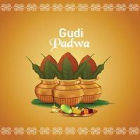 Ilustración de vector de gudi padwa con fondo dorado kalashand