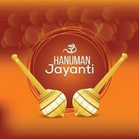 Fondo de celebración de hanuman jayanti con arma hanuman vector