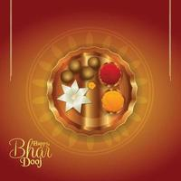 diseño de tarjeta de celebración de bhai dooj vector
