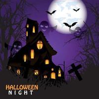 Fondo de la noche de Halloween con un cementerio y una casa embrujada y luna llena con murciélagos sobre fondo púrpura vector