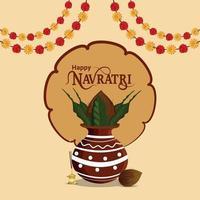 Happy navratri vector illustration with creative kalash and garland flower