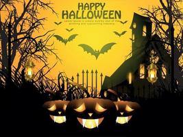 Halloween night background with glowing pumpkin, haunted house and bats. vector