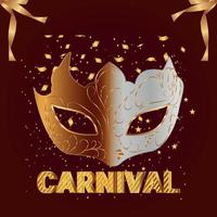 Carnival party invitation greeting card with vector creative mask