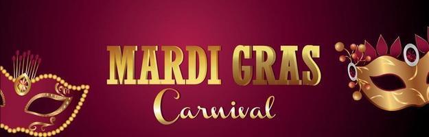 Mardi gras brazil event banner with creative golden mask vector