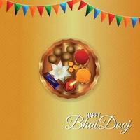 feliz tarjeta de felicitación del festival indio tradicional de bhai dooj con ilustración creativa vector