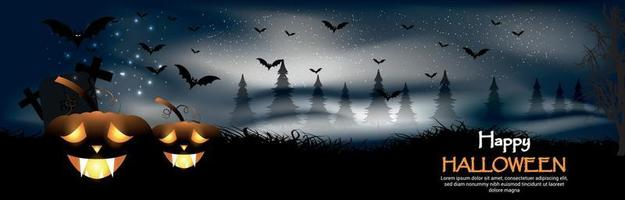 Happy halloween night party background with creative glowing pumpkin on horror background vector