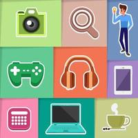 Icon set electronic device vector