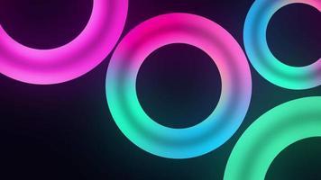 loop infinito de círculos de luz neon azul rosa verde