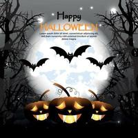 Halloween invitation greeting card,  creative night background with haunted spooky tree and glowing pumpkin vector