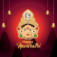Realistic vector illustration of happy navratri celebration greeting card
