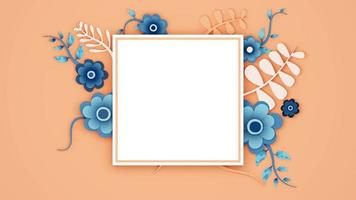 Charming Blue Flower Frame. Decorative Floral Arrangement Over Square video
