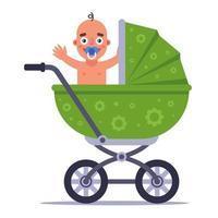 un pequeño niño alegre está sentado en un cochecito de bebé verde. ilustración vectorial plana. vector