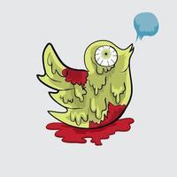 Bird zombie illustration vector