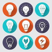 set icon light bulb vector