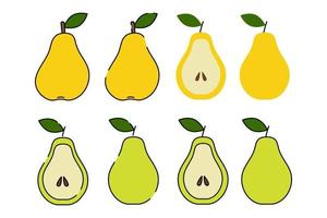 Pear green and yellow. Cartoon flat style. Isolated on a white background. Vector illustration. Sliced fruit with seeds.