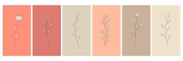 Abstract elements, minimalistic simple floral elements. leaves and flowers. Collection of art posters in pastel colors. design for social networks, postcards, prints. Outline, line, doodle style. vector