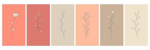 elementos abstractos, elementos florales simples minimalistas. hojas y flores. colección de carteles de arte en colores pastel. diseño para redes sociales, postales, estampas. contorno, línea, estilo doodle. vector