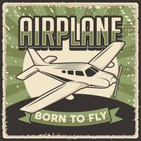 Retro Vintage Airplane Poster Sign vector