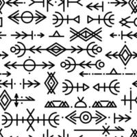 Ethnic Norwegian Icelandic seamless pattern. Runic talismans of the Vikings and northern peoples. Magic and magical runes. Pagan signs. Futhark repeatable background. Vector