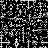 Ethnic Norwegian Icelandic seamless pattern. Runic talismans of the Vikings and northern peoples. Magic and magical runes. Pagan sign vector