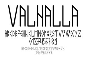 Scandinavian script, in capital letters in the style of nordic runes. Modern design vector