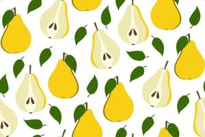 Tropical background with pears. Fruit repeated background. Vector illustration of a seamless pattern with fruits. Modern exotic abstract design.