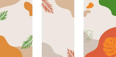 historias de redes sociales y plantilla de fondo de publicación con espacio para copiar texto. formas abstractas de colores, arte lineal, hojas, colores cálidos y brillantes de verano. vector
