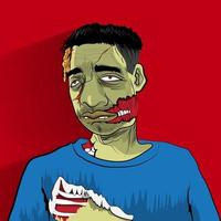 Illustrate zombie man vector