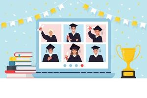 Video conference with graduate students group in graduation gown, meeting online. Friends talking on video. Laptop screen, Book, Champion cup. Flat vector illustration