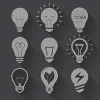 set vector light bulb