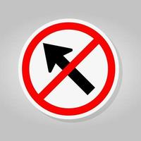 Prohibit Go To The Left By The Arrow Traffic Road Sign Isolate On White Background,Vector Illustration vector