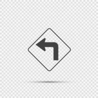Left turn ahead traffic sign on transparent background vector