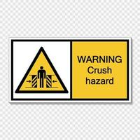 symbol warning crush hazard sign on transparent background vector