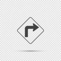 right turn ahead traffic sign on transparent background vector