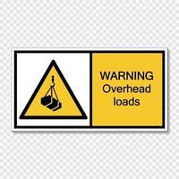 Símbolo de advertencia de cargas aéreas firmar sobre fondo transparente vector