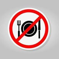 Ningún signo de símbolo de comer aislar sobre fondo blanco, ilustración vectorial