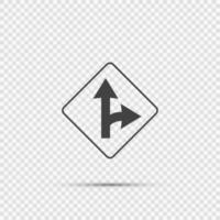 Right turn split sign on transparent background vector