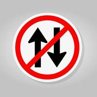 Forbid Two Way Traffic Road Sign Isolate On White Background,Vector Illustration vector