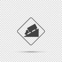 Truck DownHill Warning Sign on transparent background vector